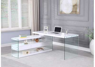 Image for Gloss White Rotatable Wooden Desk w/ 3 Drawers and 3 Shelves