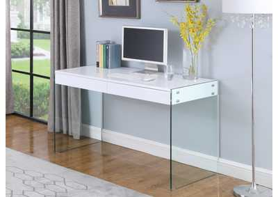 Image for Clear & Gloss White Computer Desk