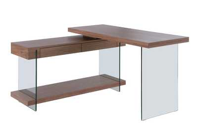 Image for Walnut & Clear Rotatable Walnut Veneer Wooden Desk w/ 2 Drawers & Shelf