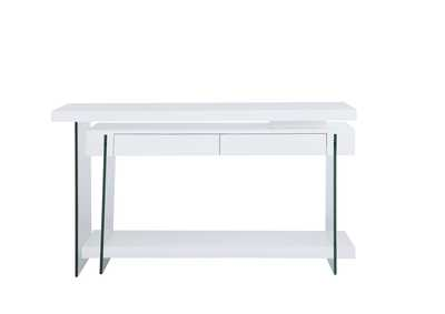Image for Gloss White & Clear Rotatable Wooden Desk w/ 2 Drawers & Shelf