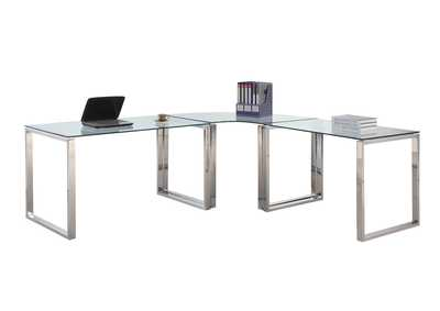 Image for Clear & Chrome Desk Set w/ Small, Large & Corner Desks