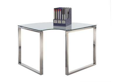 Image for Clear & Chrome Corner Desk w/ Glass Top
