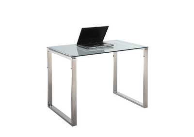 Image for Clear & Chrome  Small Desk w/ Glass Top