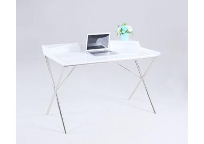 "Image for White & Chrome Computer Desk W/ ""X"" Shaped Legs"