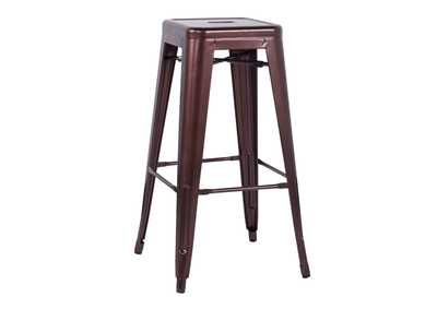 Red Copper Galvanized Steel Bar Stool (Set of 4)