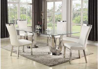 Adelle White Dining Set w/ Rectangular Glass Table & 4 White Chairs