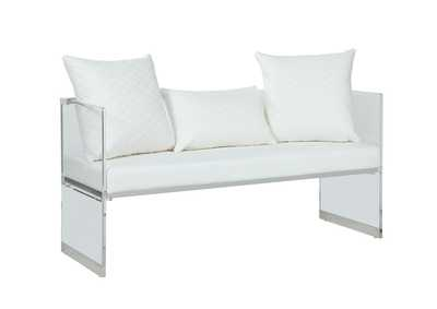 Image for Ciara White Acrylic Bench w/ Upholstered Seat