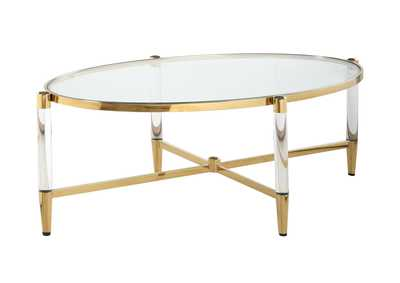 Denali Brass Oval Tempered Glass Cocktail Table