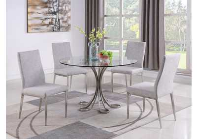 Desiree Grey Dining Set w/ Glass Table & Upholstered Chairs