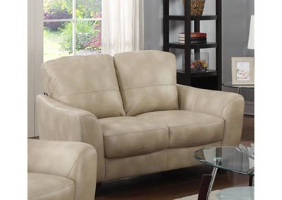 Image for Fremont Beige Club Bonded Leather Loveseat