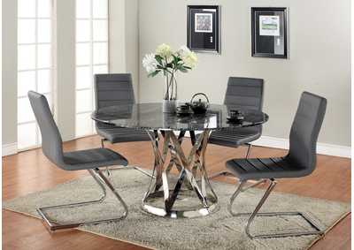 Janet Grey & Marble Round Marble Top 5 Piece Dining Set