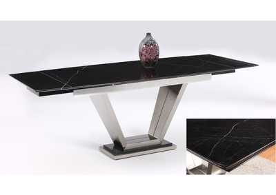 Jessy Black Marquis Rectangular Marble Top Dining Table
