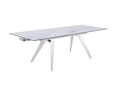 Josie White Extendable Glass Top Dining Table