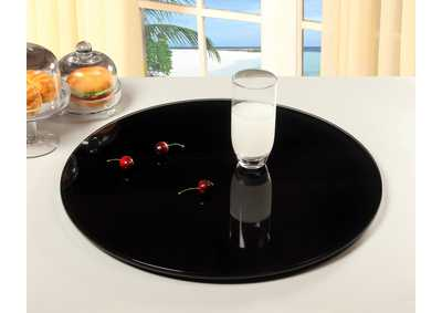 "Black 24"" Round Black Glass Lazy Susan"