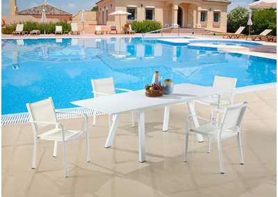 Image for Malibu Contemporary Outdoor UV Resistant Dining Set w/ Extendable Table & LB Chairs