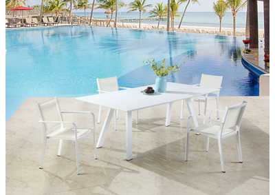 Image for Malibu Matte White Outdoor UV Resistant Dining Set w/ Table & LB Chairs