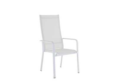 Image for Malibu White Contemporary High Back Outdoor Chair with Sling Seat [Set of 2]