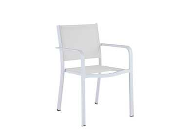 Image for Malibu Matte White Low Back Outdoor Chair (Set of 4) with Sling Seat