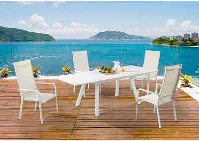 Image for Malibu Contemporary Outdoor UV Resistant Dining Set w/ Extendable Table & HB Chairs