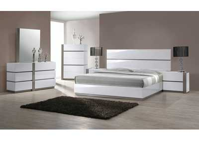 Manila Gloss White & Grey Panel King 4 Piece Bedroom Set W/ Nightstand, Dresser & Mirror
