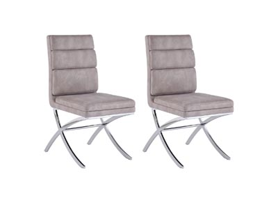 Maya Dark Grey Channel-Back Side Chair (Set of 2)