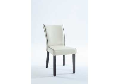 Michelle Cream Bonded Leather Parson Chair (Set of 2)