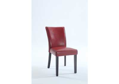 Michelle Red Bonded Leather Parson Chair (Set of 2)