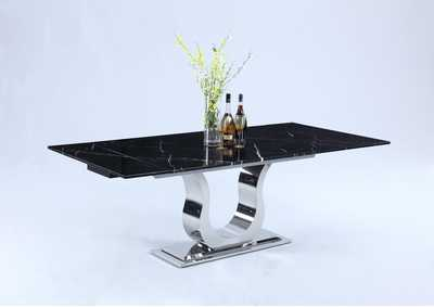 Nadia Black Marquina Marble Top Dining Table