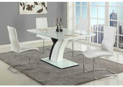 Natasha Gloss White & Black Rectangular Glass Top 5 Piece Dining Set