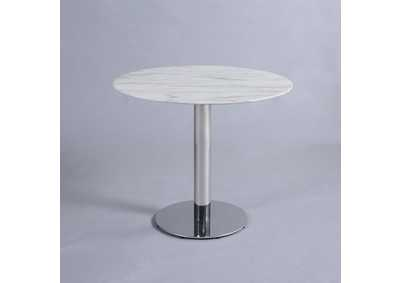 Noemi Jazz White Round Marble Top Dining Table