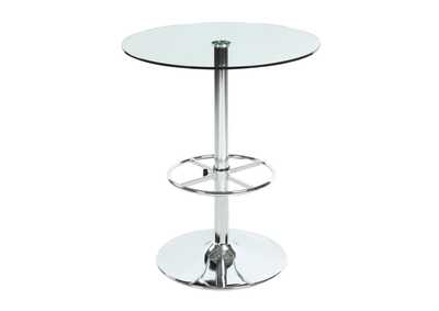 Chrome Round Glass Top Pub Table