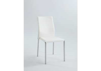 Rhonda White Sleek Back Stackable Side Chair (Set of 4)