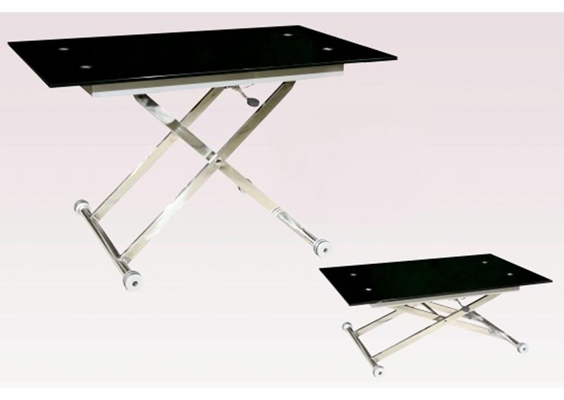 Image for Sherry Black Glass Top Adjustable Height Cocktail Table