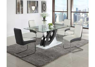 Stella White & Black Rectangular Glass Top 5 Piece Dining Set