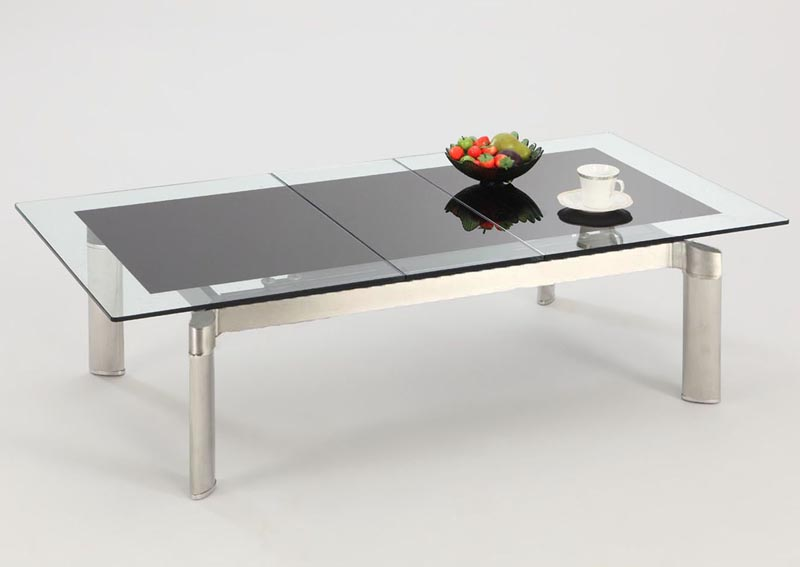 Image for Tara Black Glass & Stainless Steel Pop-Up Extension Glass Cocktail Table