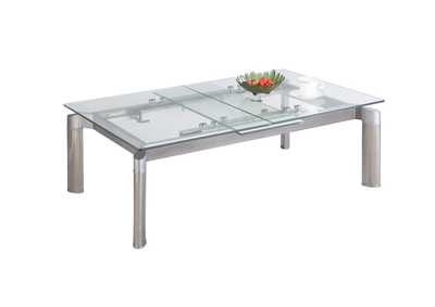 Image for Tara Clear Pop-Up Extension Clear Glass Cocktail Table