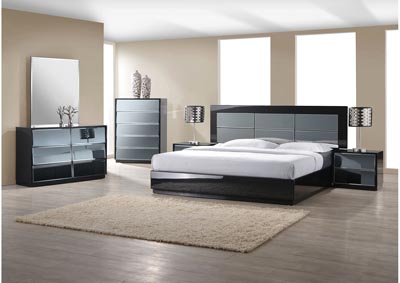 Venice Gloss Black Panel King Bed