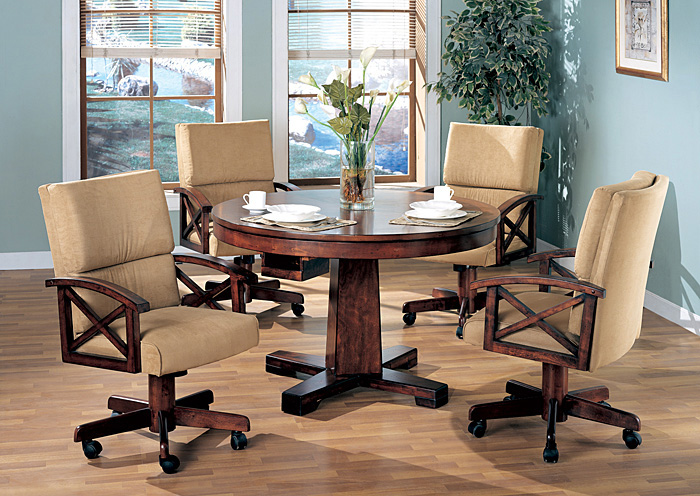 Black Oak Convertible Dining Table W 4 Game Chairs Lo S Art Furniture