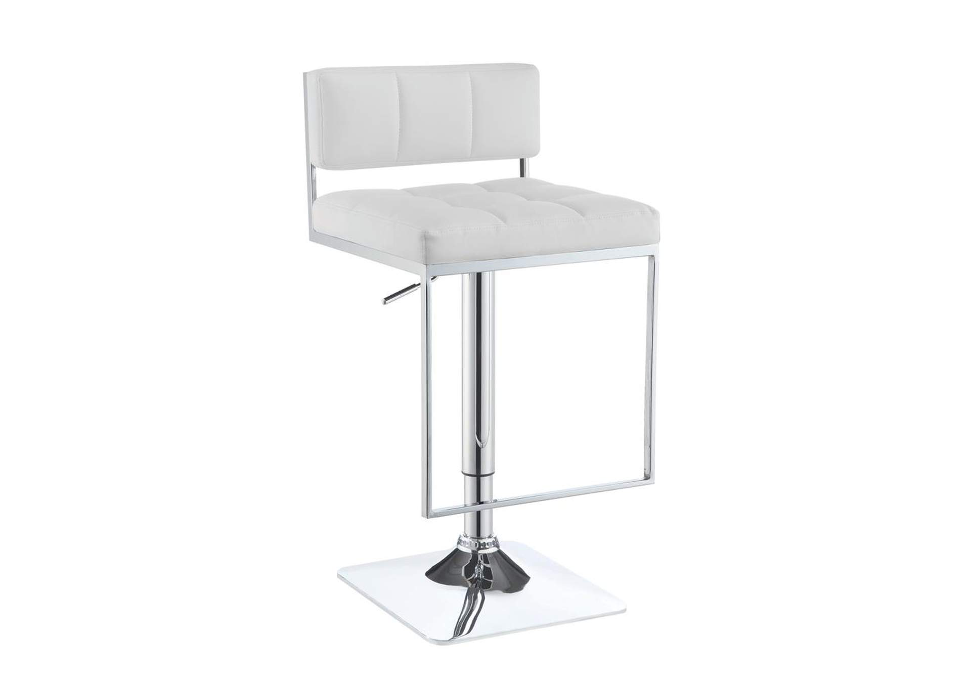 Adjustable Bar Stool White And Chrome,Coaster Furniture