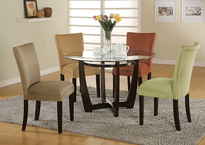 Bloomfield Cappuccino Round Glass Top Dining Table,Coaster Furniture