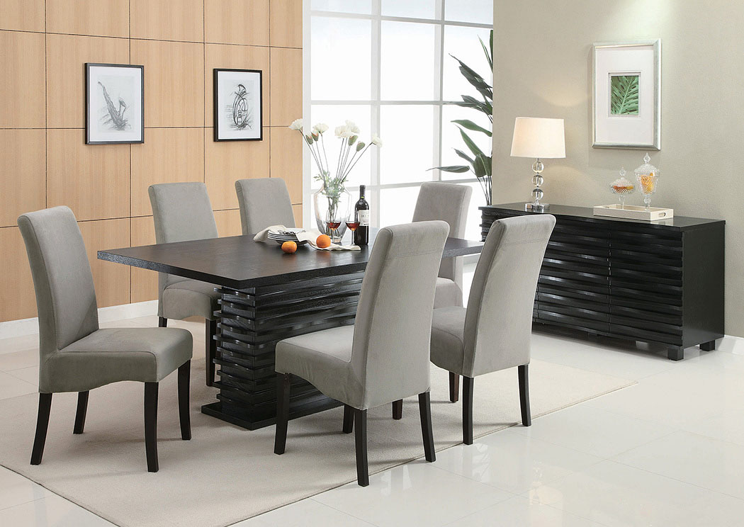 Stanton Black Dining Table w/6 Grey Chairs & Server Affordable