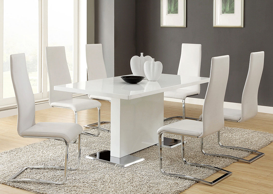 Nameth White Dining Table w/4 Side Chairs,Coaster Furniture
