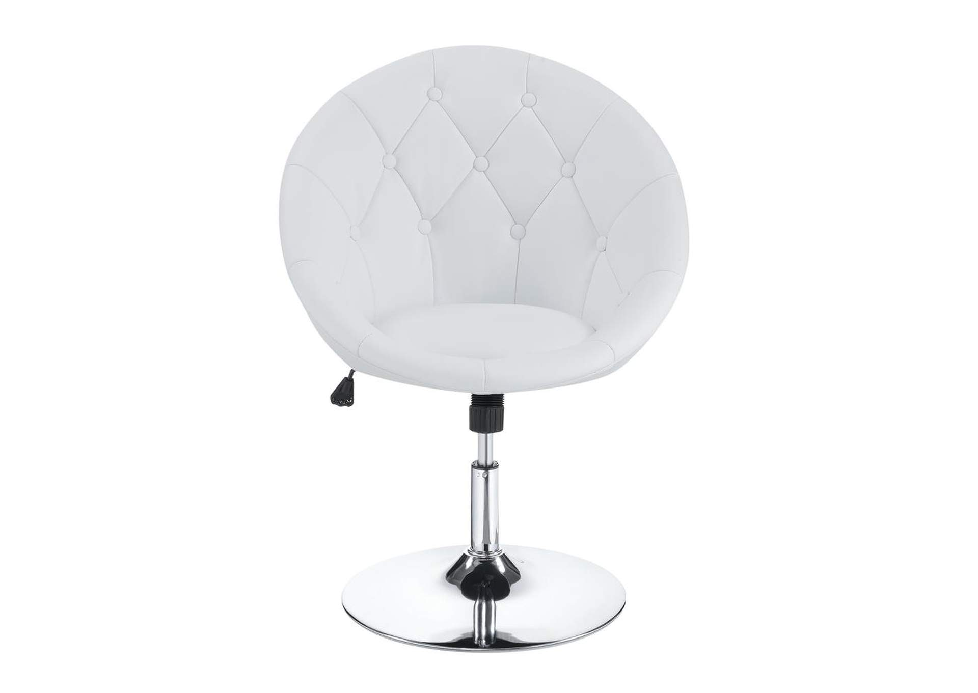 Chrome Contemporary White Faux Leather Swivel Accent Chair,Coaster Furniture