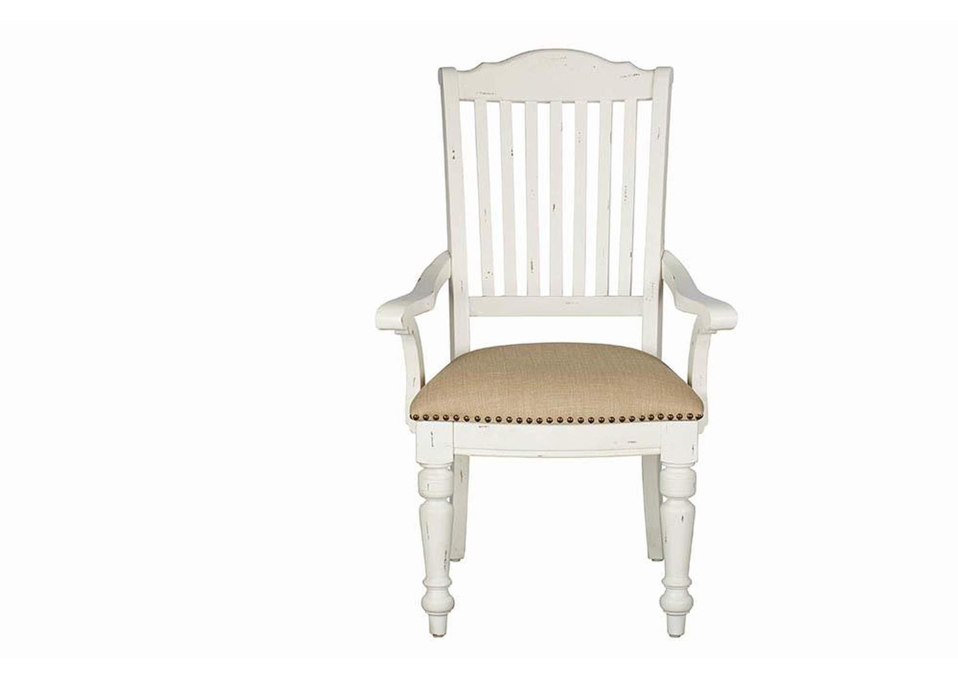 Simpson Slat Back Arm Chairs Barley And Vintage White (Set of 2),Coaster Furniture