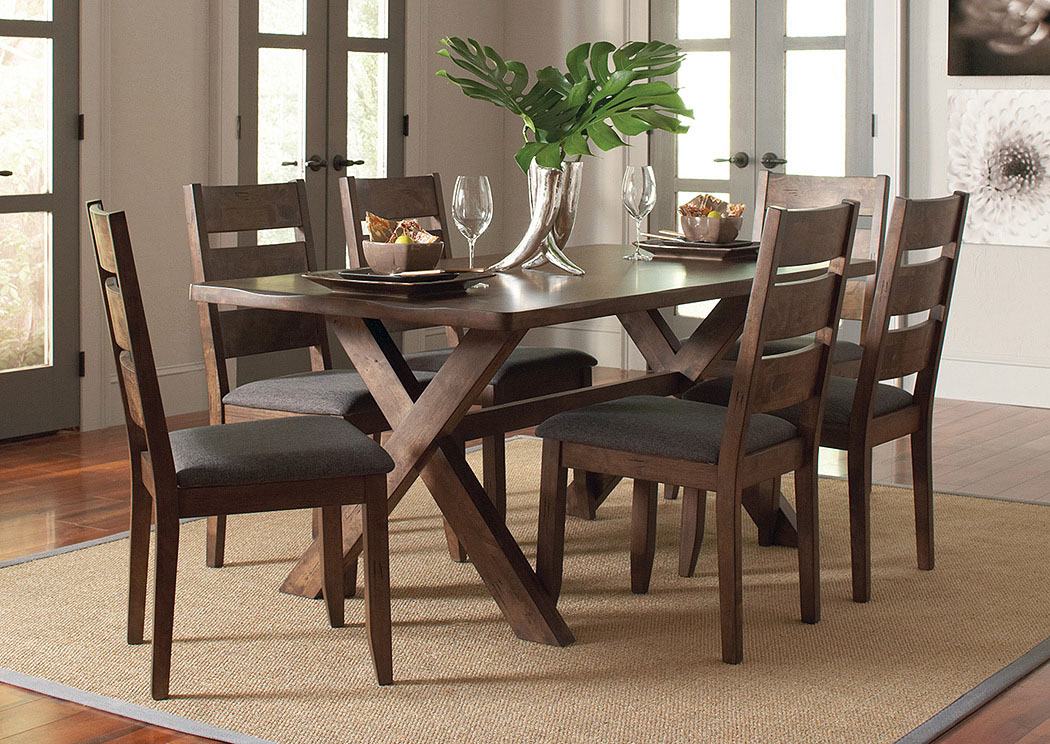 Knotty Nutmeg Dining Table w/4 Dining Chairs,Coaster Furniture