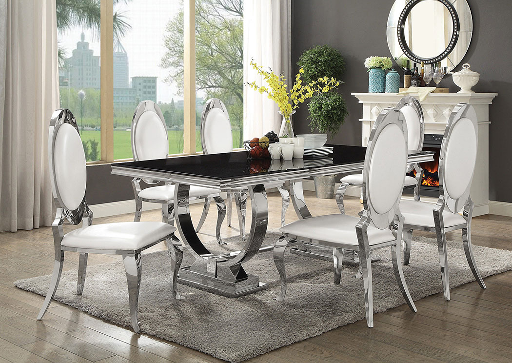 Silver/Black Rectangular Dining Table w/6 Side Chairs,Coaster Furniture