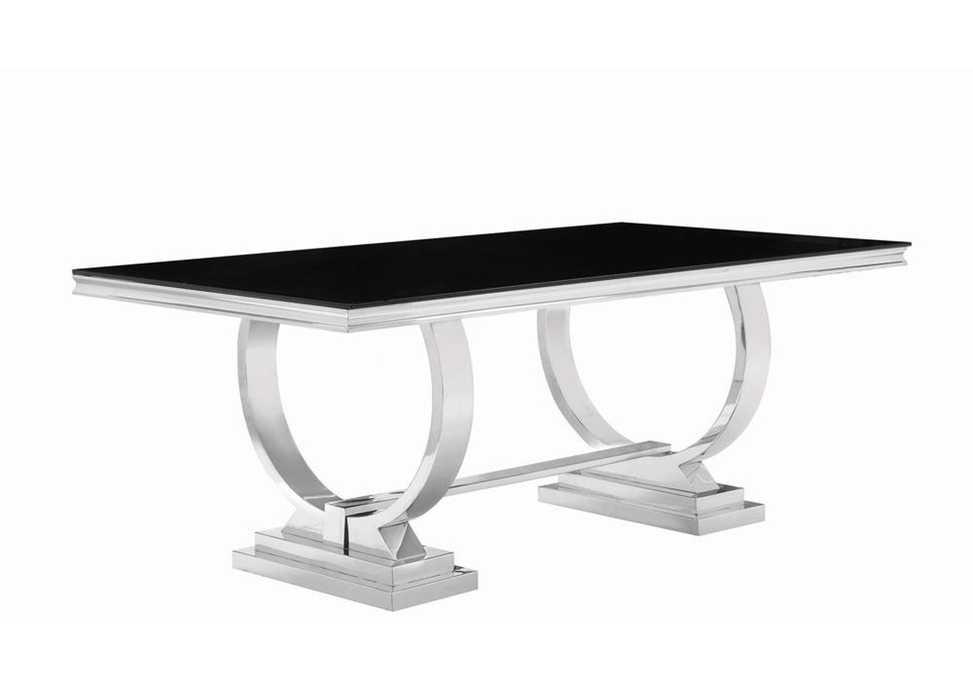 Silver/Black  Antoine Hollywood Glam Silver Dining Table,Coaster Furniture