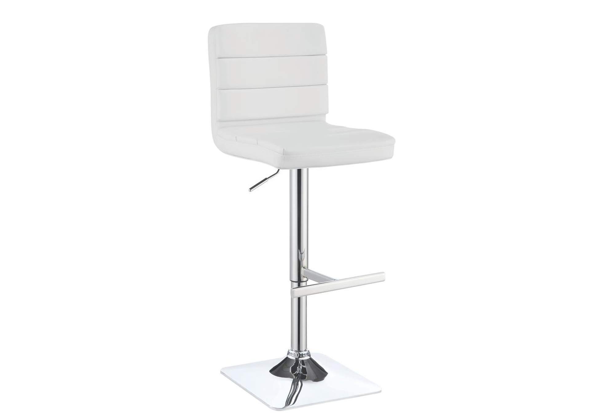 Upholstered Adjustable Bar Stools White And Chrome (Set of 2),Coaster Furniture