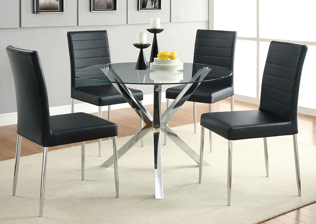 Glass Top Dining Table W 4 Black Chrome Chairs Jarons