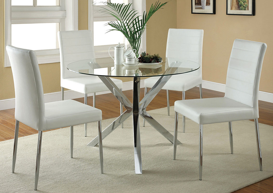Glass Top Dining Table W 4 White Chrome Chairs Jarons